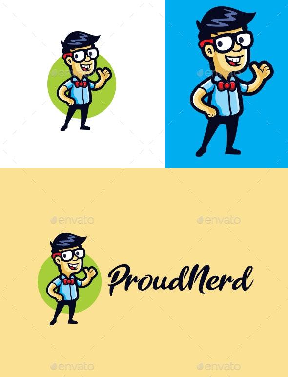 Cartoon Proud Nerd Character Mascot Logo - Humans Logo Templates