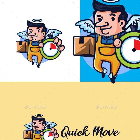 Cartoon Quick Moving Service Character Mascot Logo