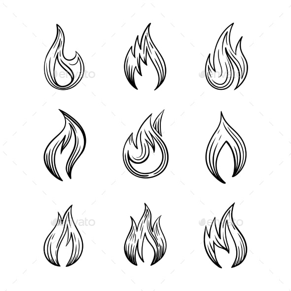 Fire Icons with and Spurts of Flame Vector Set of - Miscellaneous Vectors