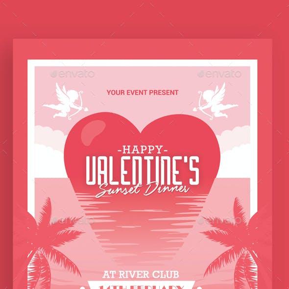 Valentine's Day Sunset Dinner Flyer
