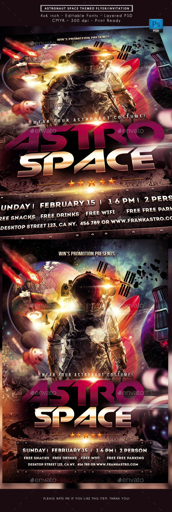 Space Astronaut Themed Event Flyer - Miscellaneous Events