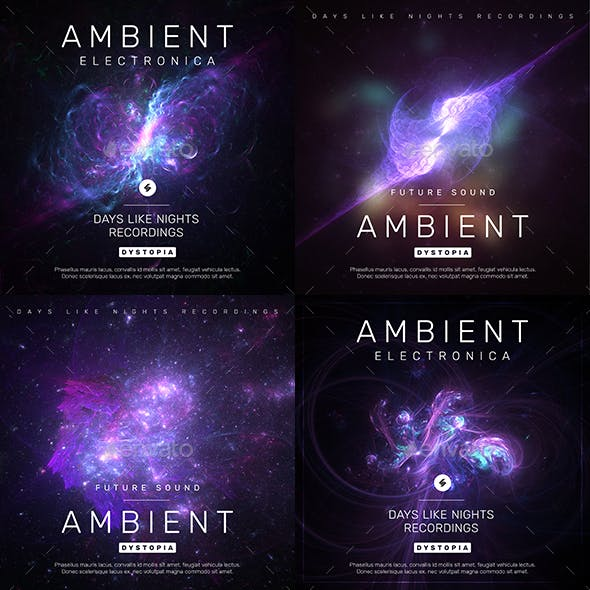 Ambient Electronic Music Album Cover Templates Pack