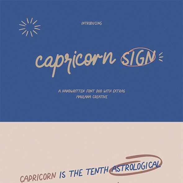 Capricorn Sign Handwritten Font Duo