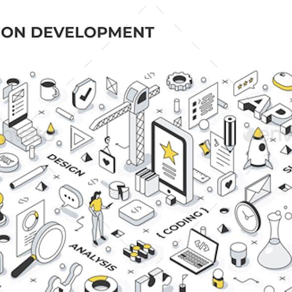 Application Development Isometric Banner Illustration
