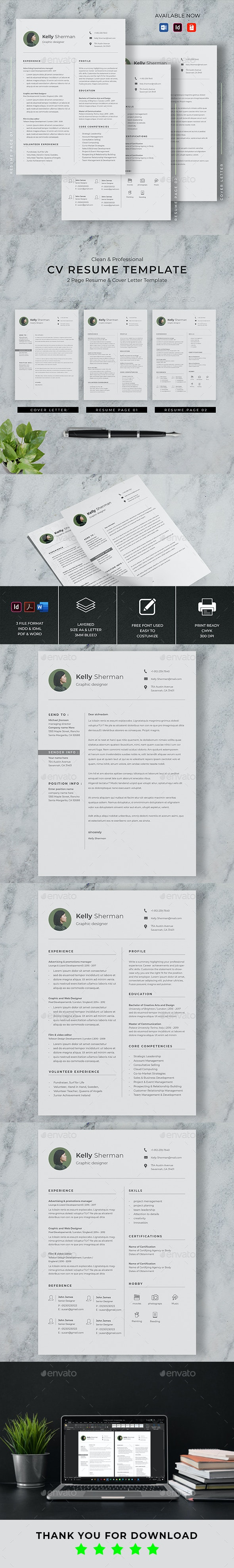 Minimalist CV Resume - Resumes Stationery