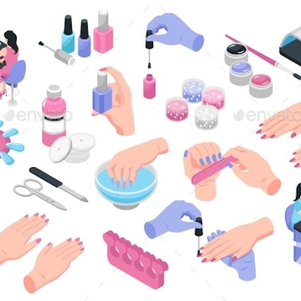 Nail Studio Isometric Icons Set