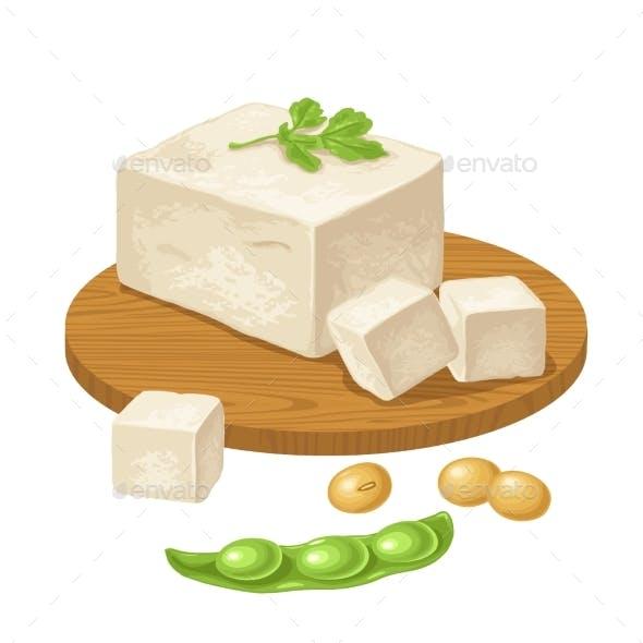 Tofu on Wood Board and Open Soybean Pod