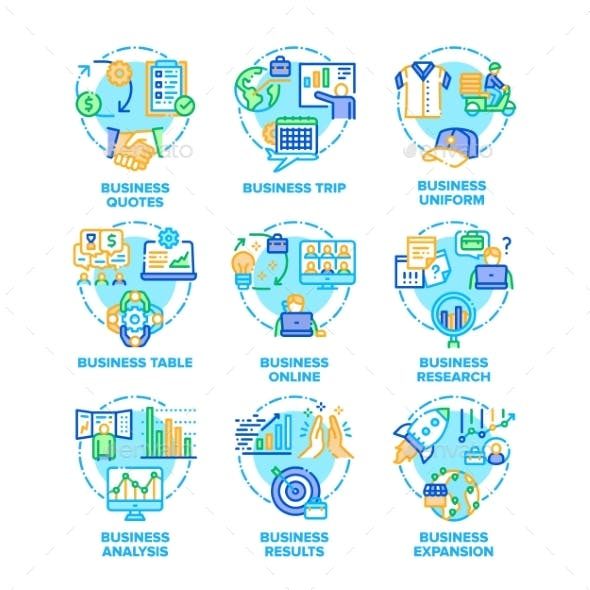 Business Plan Set Icons Vector Color Illustrations