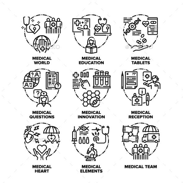 Medical Aid Set Icons Vector Black Illustrations - Health/Medicine Conceptual