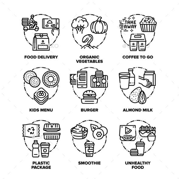 Food Eats Set Icons Vector Black Illustrations - Food Objects