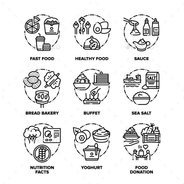 Food And Drink Set Icons Vector Black - Food Objects