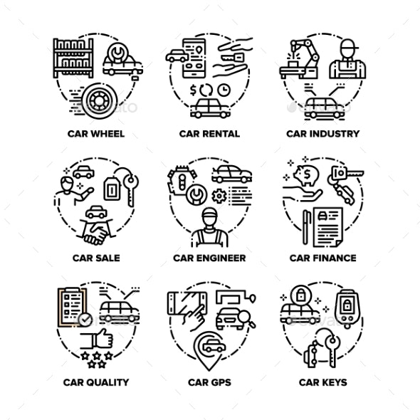 Car Vehicle Set Icons Vector Black Illustrations - Man-made Objects Objects