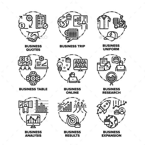 Business Plan Set Icons Vector Black Illustrations