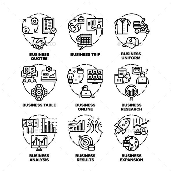 Business Plan Set Icons Vector Black Illustrations - Business Conceptual