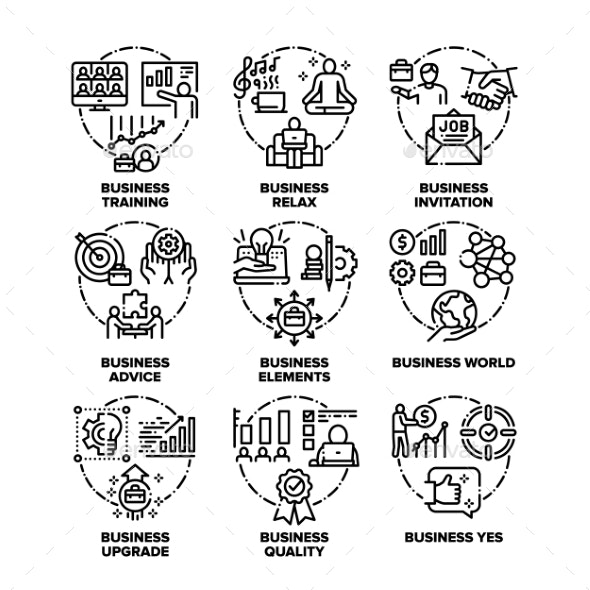 Business World Set Icons Vector Black - Concepts Business
