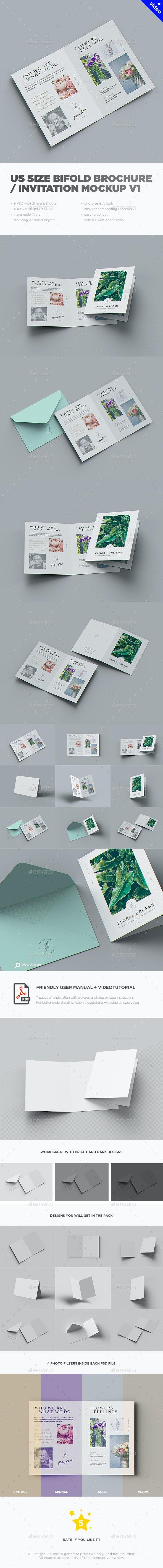 US Size Bifold Brochure / Invitation Mockup v1 - Brochures Print