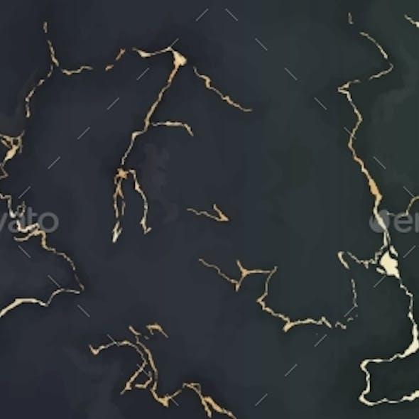 Gold Dark Marble Background Vector Luxury Pattern
