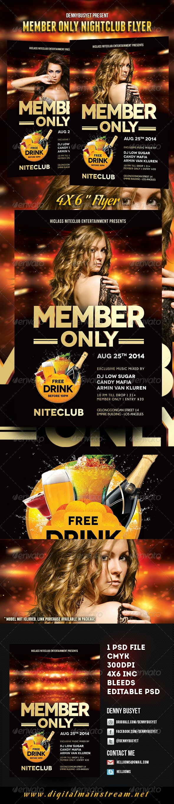 Member Only Nightclub Flyer Template - Events Flyers