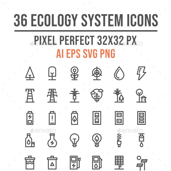 50 Ecology System and Nature Thin Line Icon Set