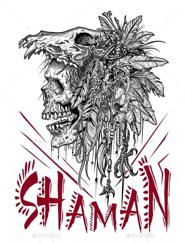Scary Ritual Skull of the Great Shaman - Religion Conceptual