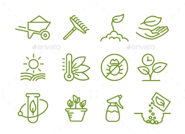 Set of Icons - Flowers & Plants Nature