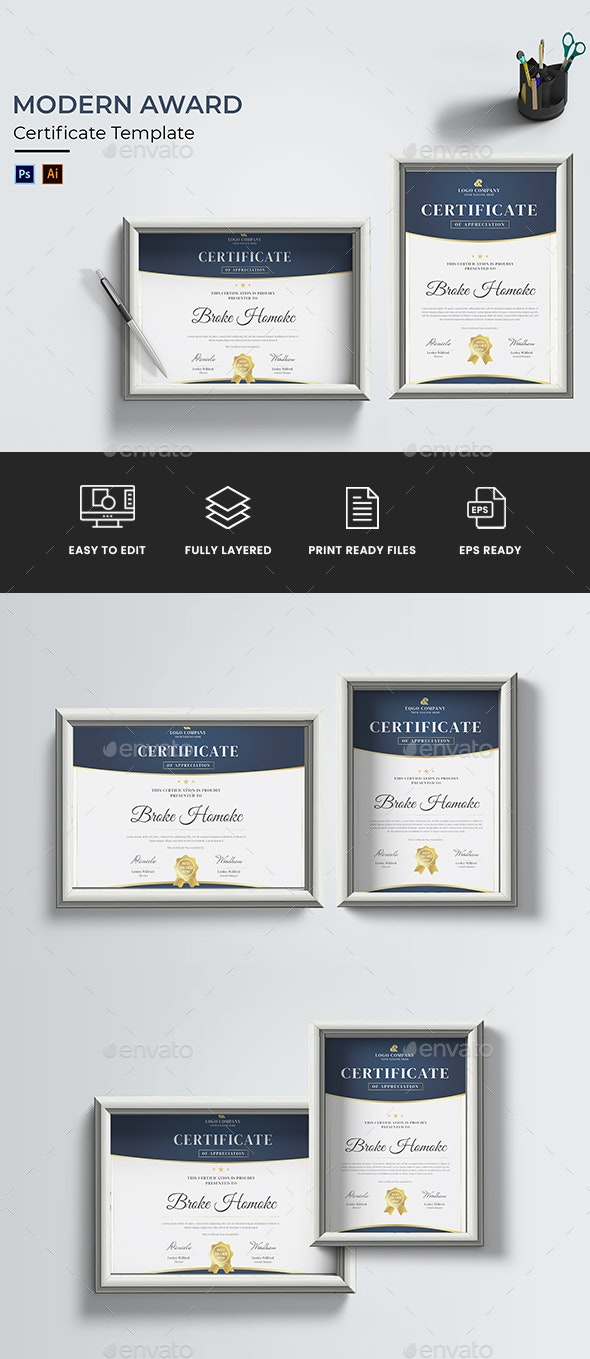 Modern Award Certificate - Certificates Stationery