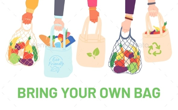 Hands Hold Eco Bags - Food Objects