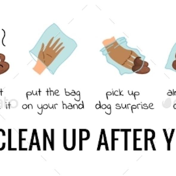 Dog Poo Clean Up Steps Infographic Set