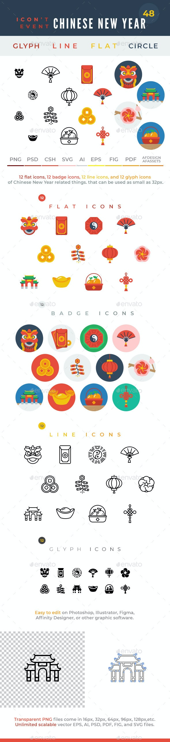 Icon't Event - 48 Chinese New Year Icons - Seasonal Icons
