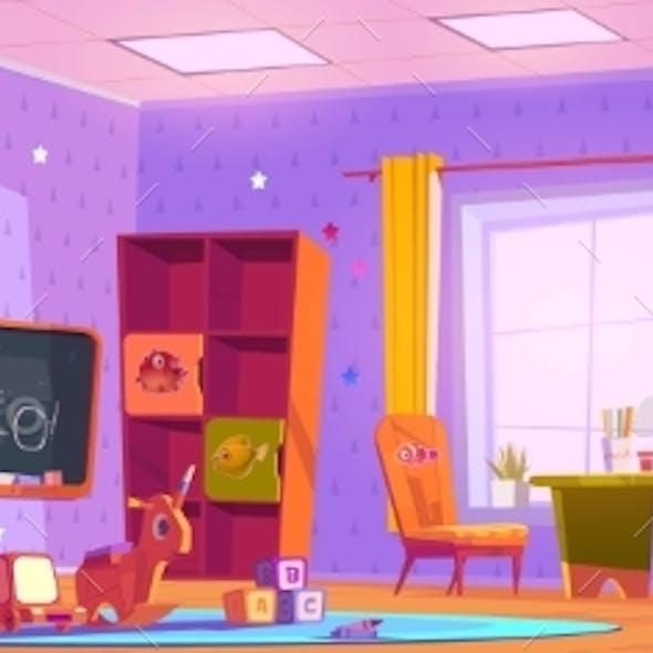 Kids Playroom Interior Empty Indoors Nursery Room