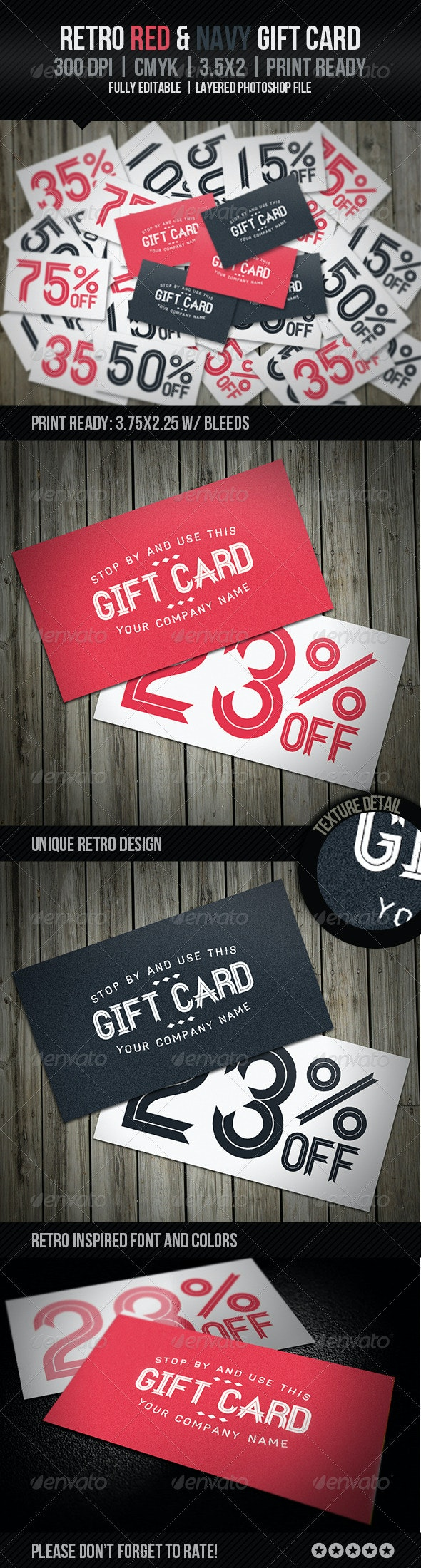 Retro Red & Navy Gift Card - Loyalty Cards Cards & Invites