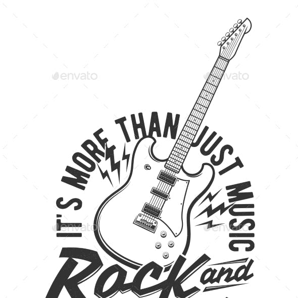 Tshirt Print with Electric Guitar and Flashes