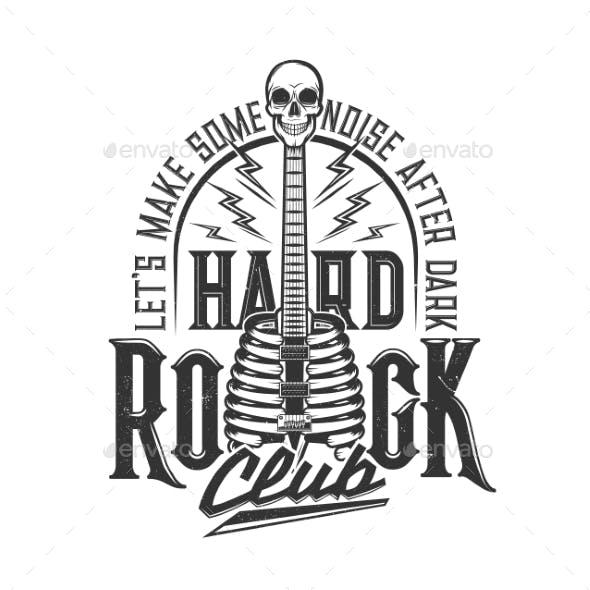 Tshirt Print with Skeleton Skull Electric Guitar
