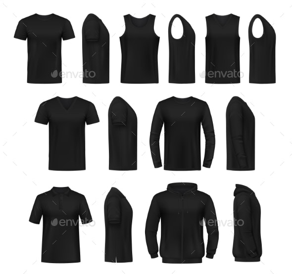 Mens Casual Clothing Realistic Vector Mockups - Objects Vectors