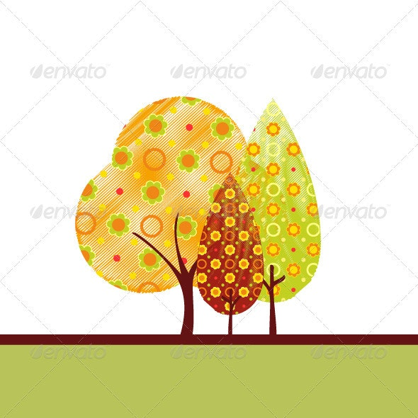 Autumn tree - Backgrounds Decorative