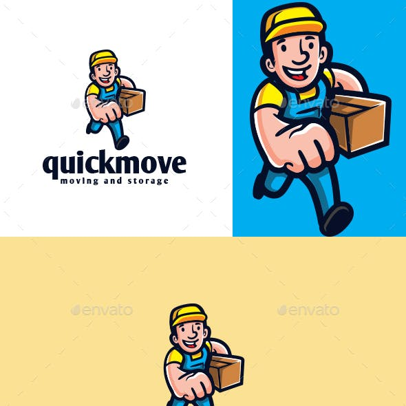 Cartoon Courier Character Mascot Logo