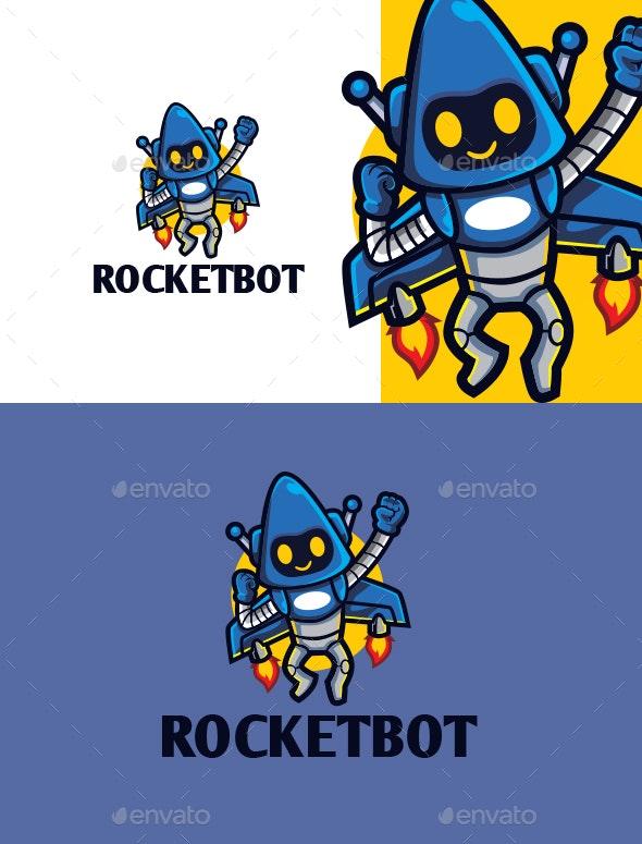 Cartoon Rocket Robot Character Mascot Logo - Objects Logo Templates