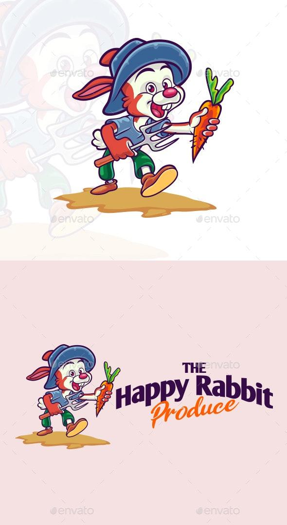 Cartoon Happy Rabbit Farm Produce Mascot Logo - Food Logo Templates