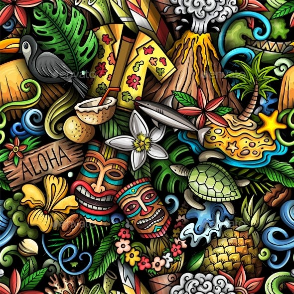 Cartoon Doodles Hawaii Seamless Pattern