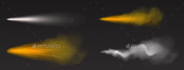 Dust Spray Gold and White Smoke Powder or Water - Objects Vectors