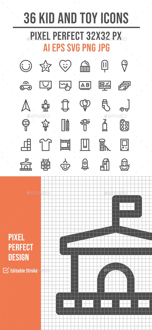 36 Kid and Toys Line Icon Set - Man-made objects Objects