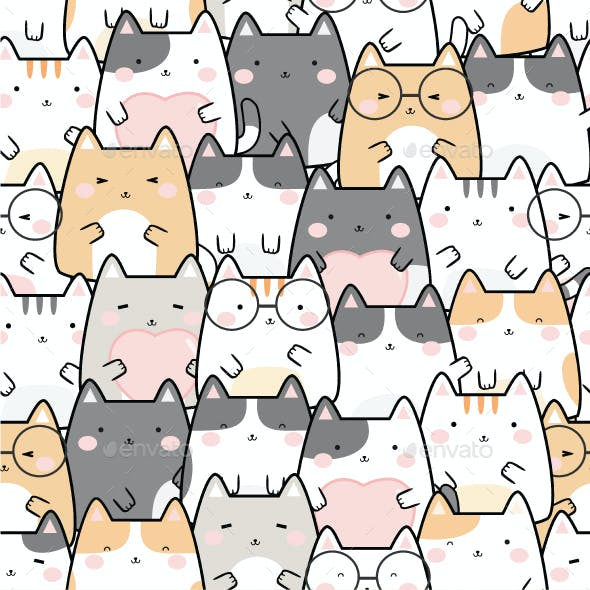 Seamless Kawaii Cute Cats Pattern