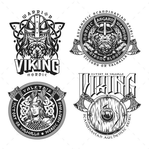 Medieval Nordic Viking Emblems Set