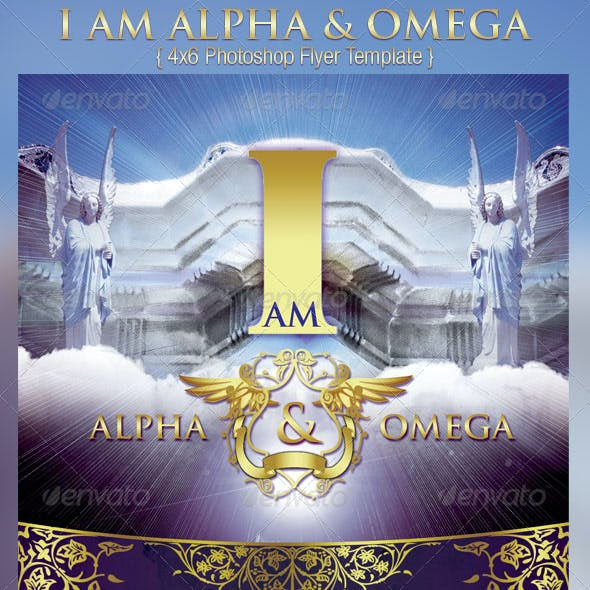 I Am Alpha and Omega Church Flyer Template