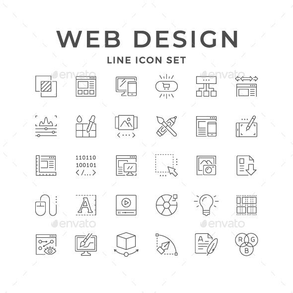 Set Line Icons of Web Design - Man-made objects Objects