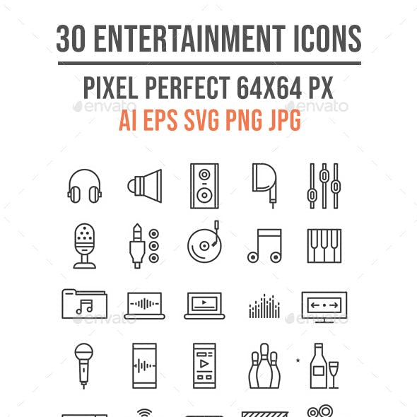 30 Entertainment Outline Icons