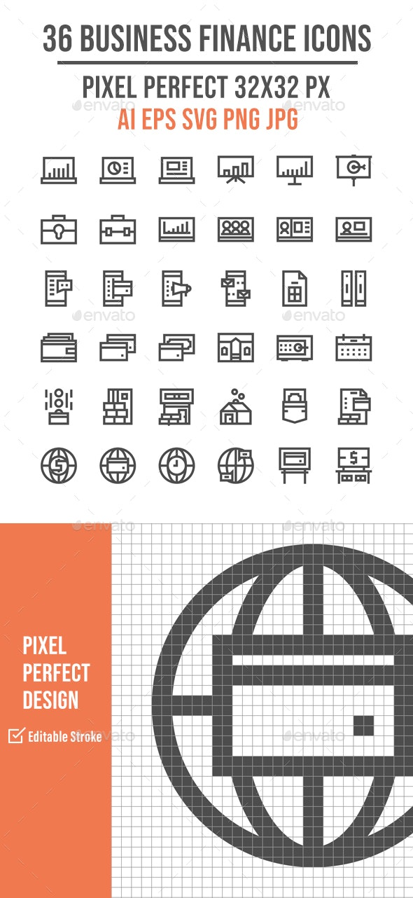 36 Business Finance Outline Icons - Business Icons