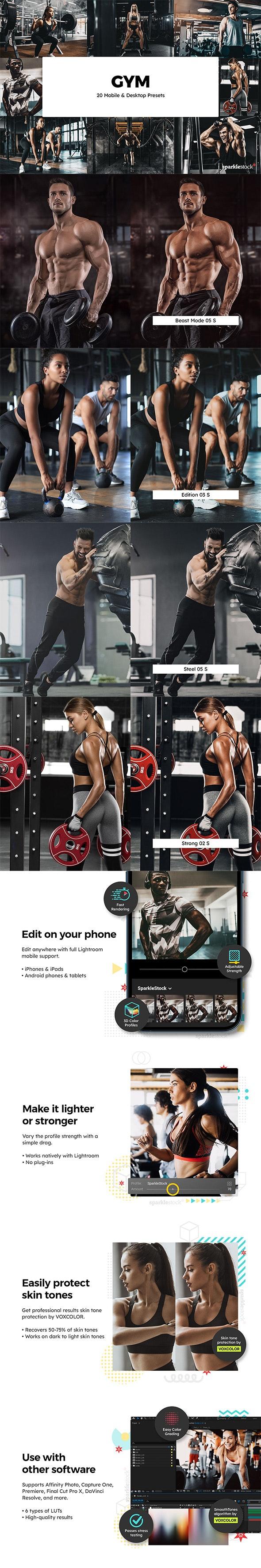 20 Gym Lightroom Presets & LUTs - Lightroom Presets Add-ons