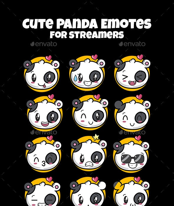 Panda Emotes for Streamers | Twitch Emotes - Animals Characters