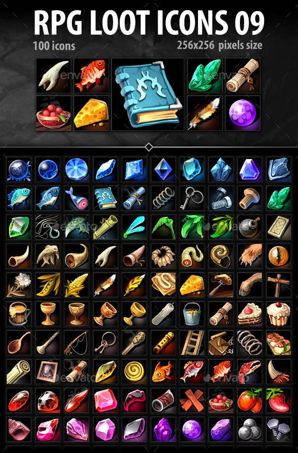 RPG Loot Icons 09 - Miscellaneous Game Assets